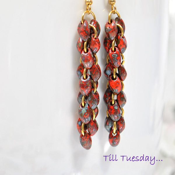 Red Cluster Earrings, Red Chain Earrings 2.25 inch - Purple Moon Designs - 1