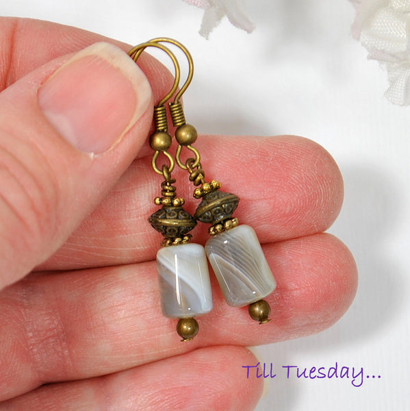 Small Dangle Earrings, Brown Agate, 1.5 inch - Purple Moon Designs - 4