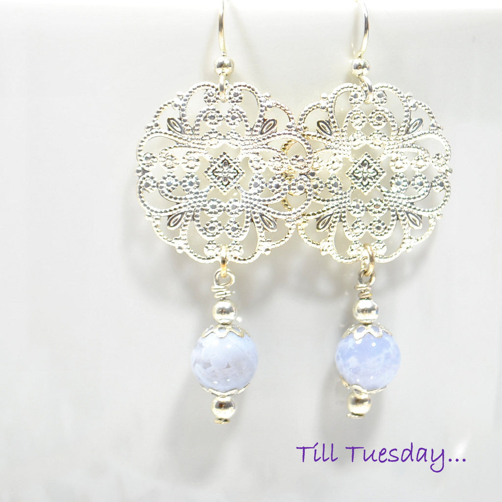 Ice Blue Silver Earrings, Blue Lace Agate on Silver Filigree Earrings, 2 inch - Purple Moon Designs - 1