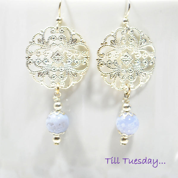 Ice Blue Silver Earrings, Blue Lace Agate on Silver Filigree Earrings, 2 inch - Purple Moon Designs - 2