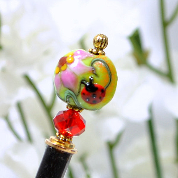 "Sold - Ladybug Hair Stick 4.75 inch Hair Pick - ""Heavenly"""