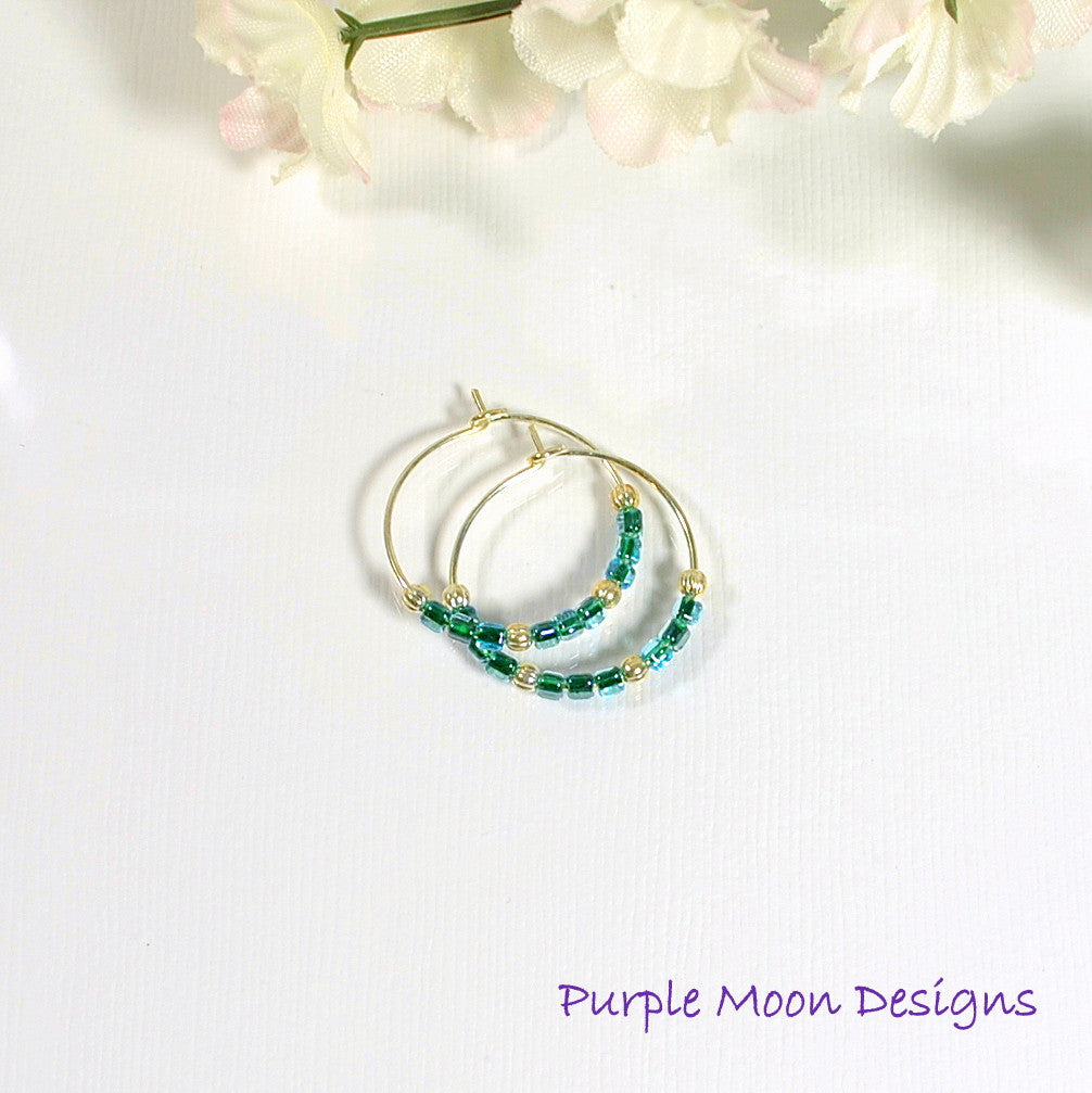 Dark Teal Blue Hoop Earrings, 1 inch - Purple Moon Designs - 1