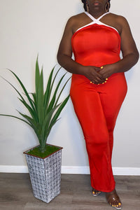 """Celmia"" Red High Neck Jumpsuit (XXL)"