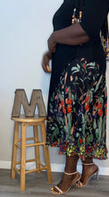 "Load image into Gallery viewer, ""Peeking Garden"" Black Maxi Dress (2X-4X)"