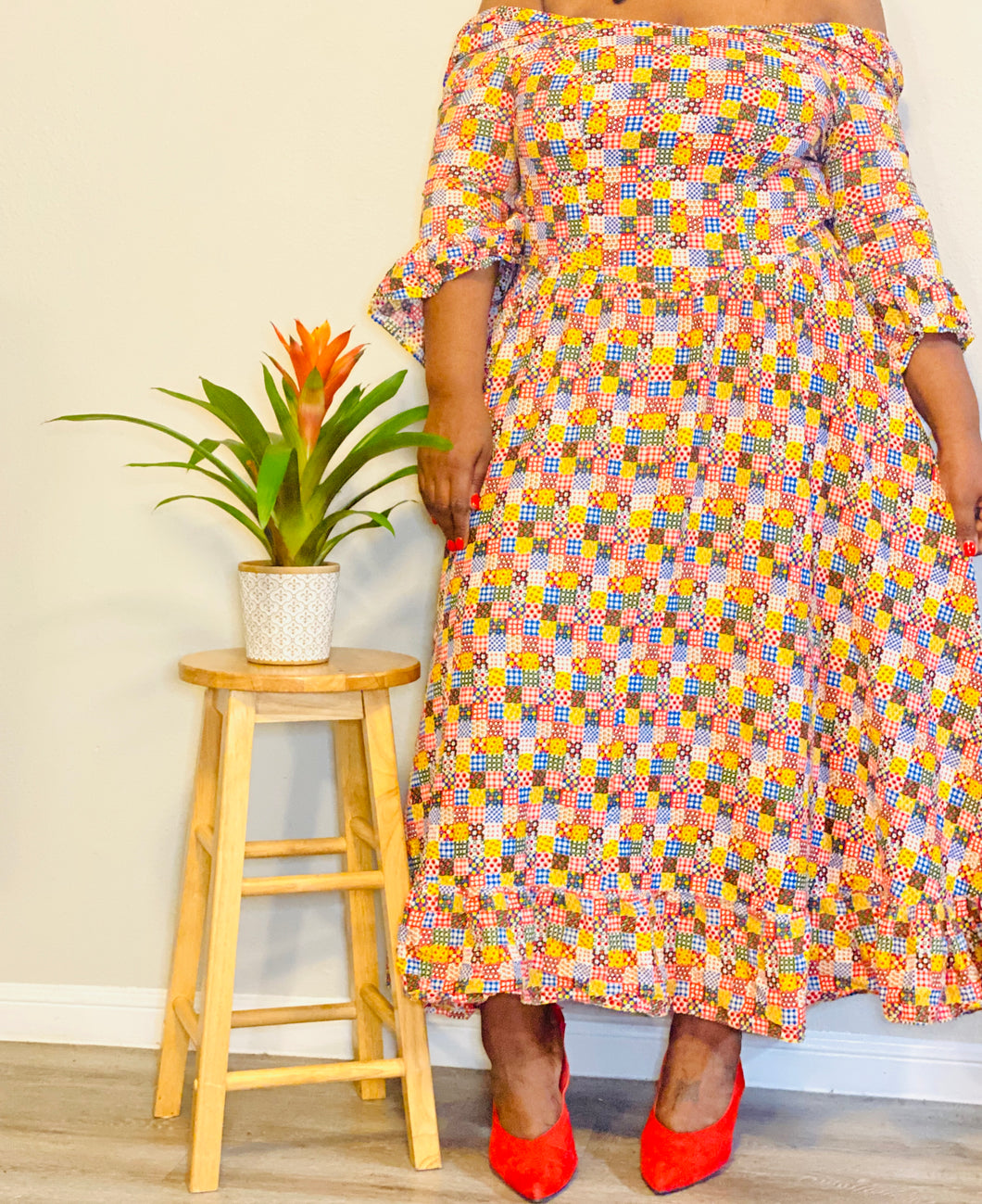 VINTAGE Patchwork Tea Dress  (L/XL)