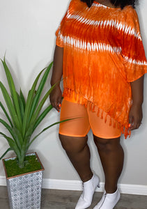 Orange burst Tie Dye Top (One Size Fits All)
