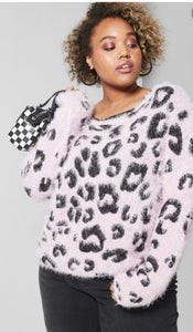Leopard Eyelash Sweater Lilac (XXL)