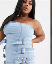 "Load image into Gallery viewer, ""Belts"" Denim Bandeau Dress (22/24)"