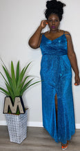 "Load image into Gallery viewer, ""Morgan"" Glitter Gown w/ front split (18W)"