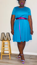 "Load image into Gallery viewer, Vintage ""The Paragon"" Aqua Blue A-Aline Dress (1X)"