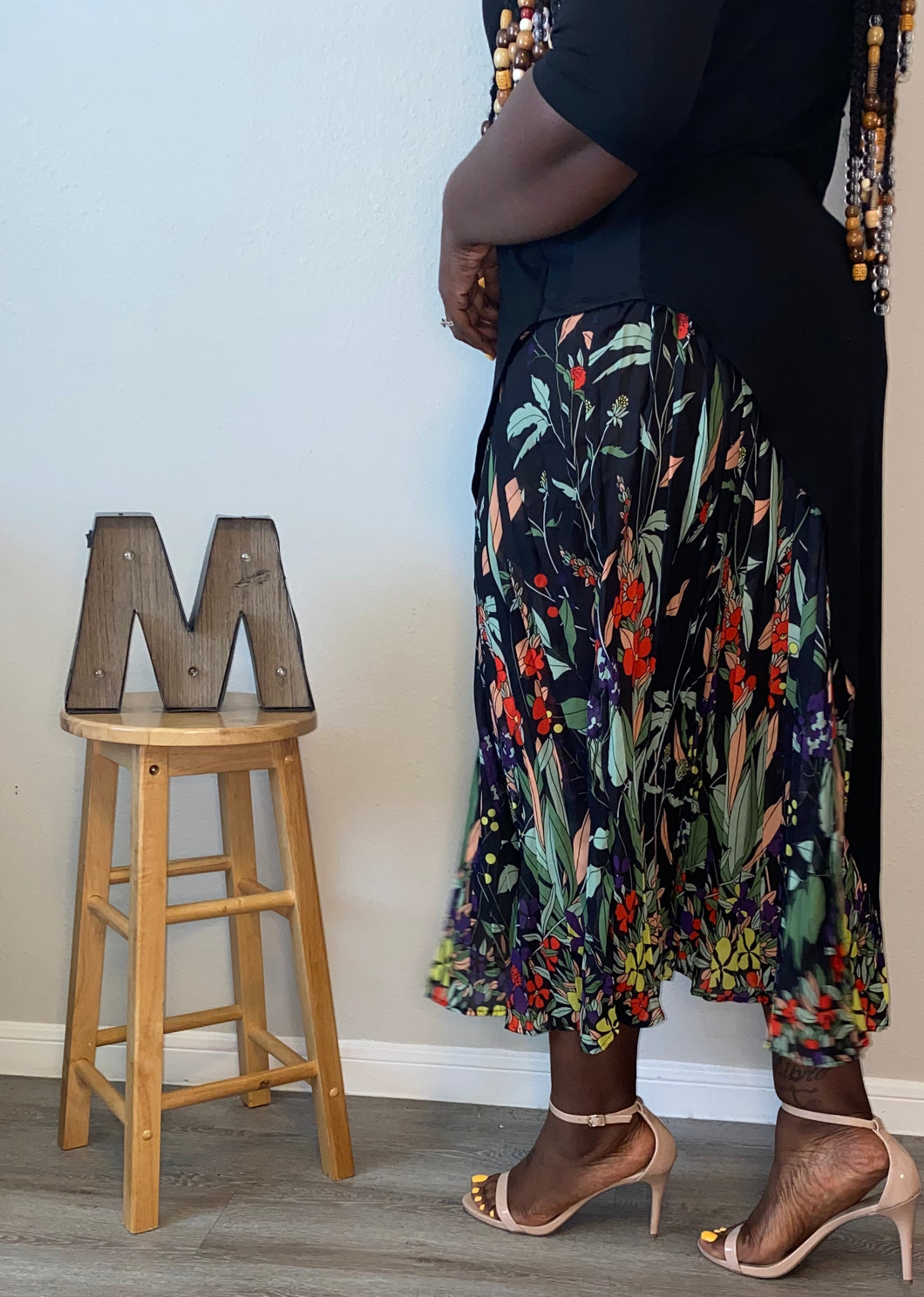 """Peeking Garden"" Black Maxi Dress (2X-4X)"