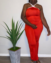 "Load image into Gallery viewer, ""Celmia"" Red High Neck Jumpsuit (XXL)"