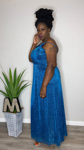 """Morgan"" Glitter Gown w/ front split (18W)"