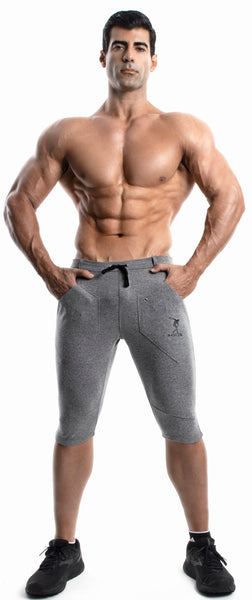 Capri Workout Pants(GRAY)-(Organic Cotton/Elastin)