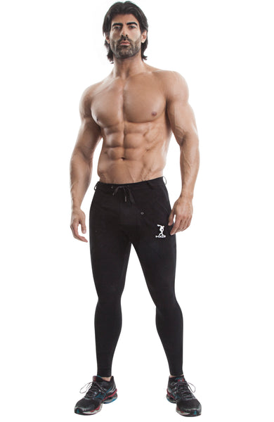 Long Workout Pants (Black)-(Organic Cotton/Elastin) - DEMIG