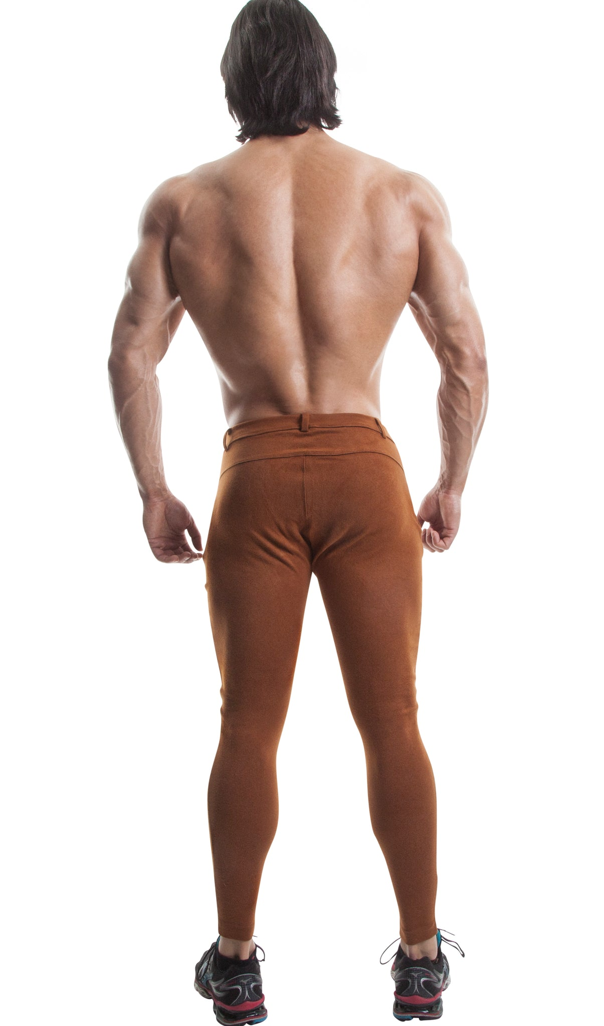 Long Workout Pants (Brown)-(Organic Cotton/Elastin)