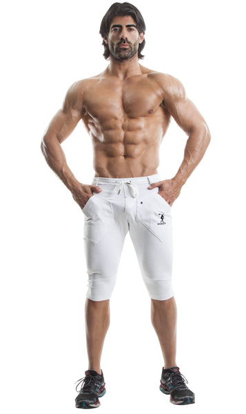 Capri Workout Pants(White)-(Organic Cotton/Elastin)