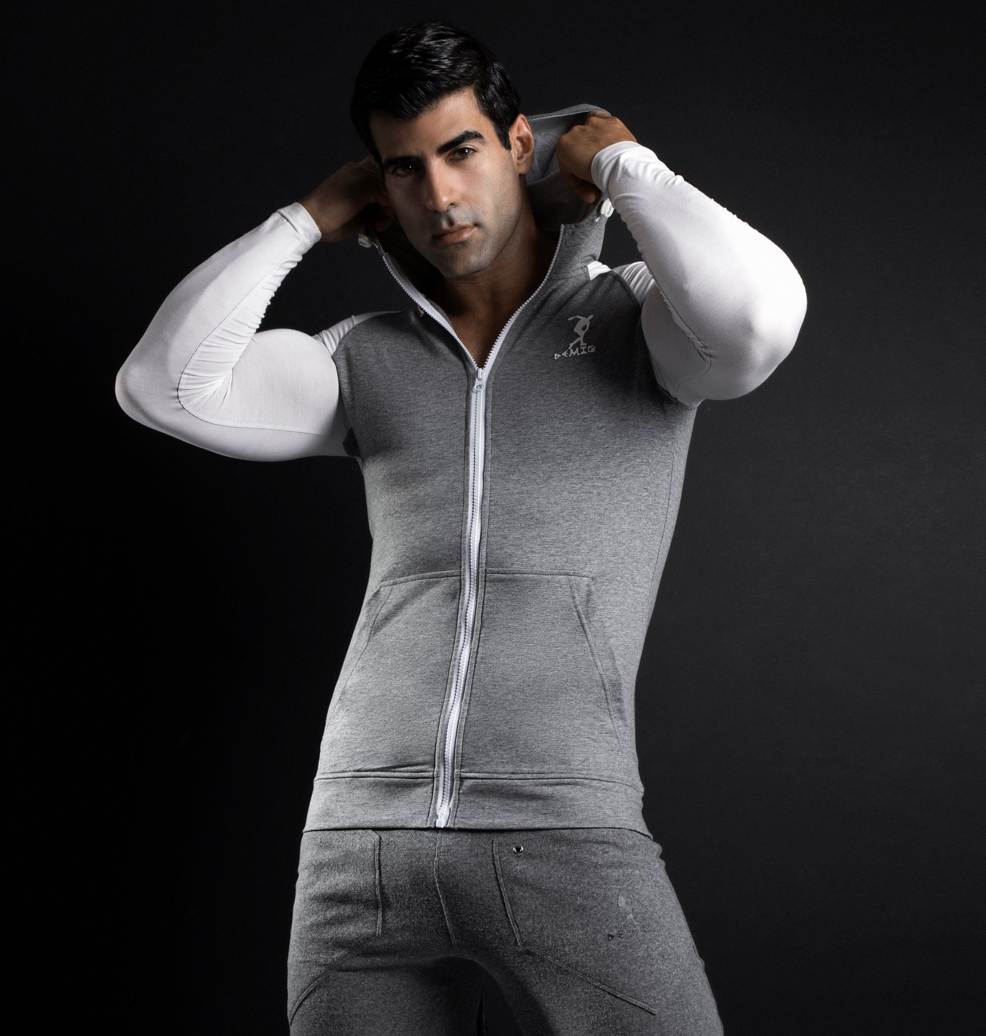 Mens Gray Zip Up Hoodie Slim Fit with Kanga Pockets Made with Organic Cotton and Microfiber - DEMIG