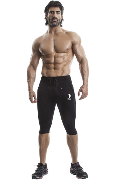 Capri Workout Pants(Black)-(Organic Cotton/Elastin) - DEMIG