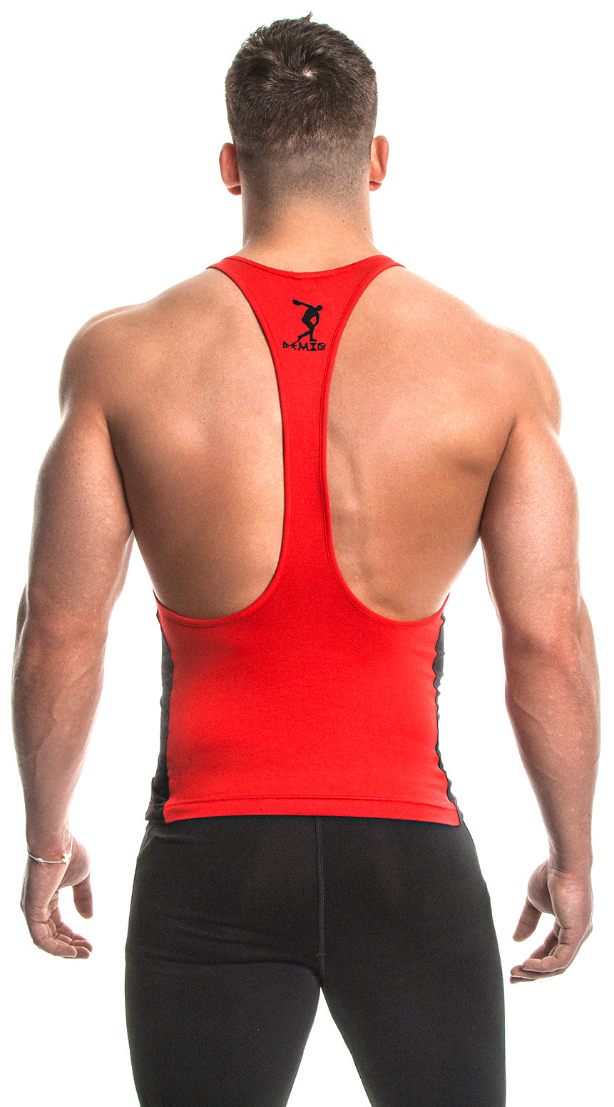 Tank Top (Red/Black) - Bamboo/Elastin Fiber - DEMIG