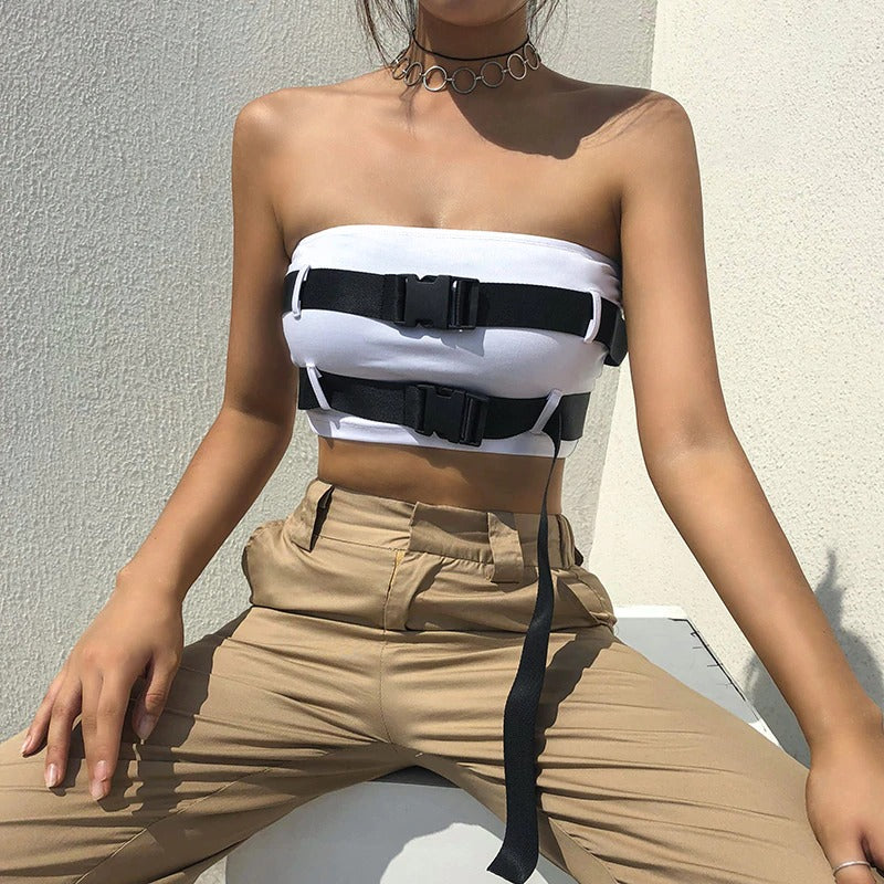 Stylish Sexy Strapless Bandeau Tube Crop Top for Dominant