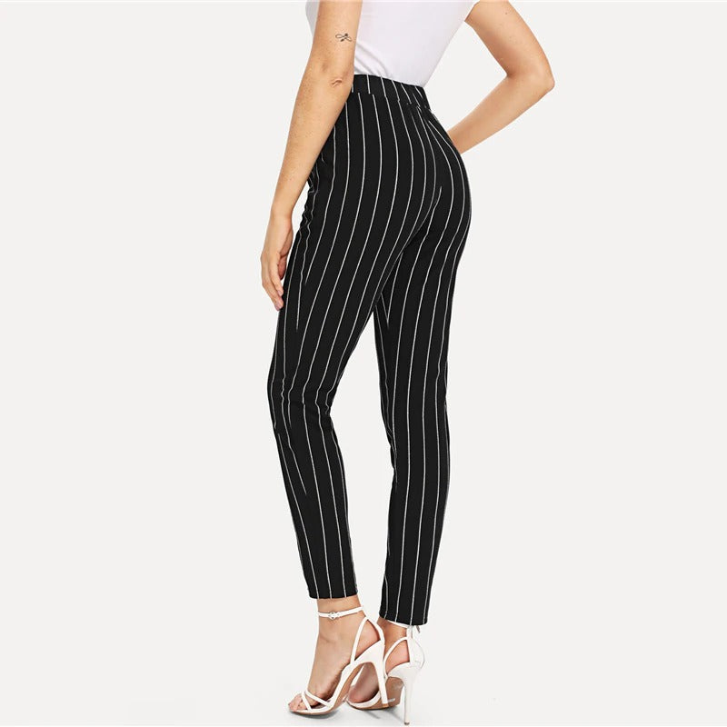 Elastic Waist Pinstripe Cigarette Pants Black Mid Waist Tapered Carrot Trousers