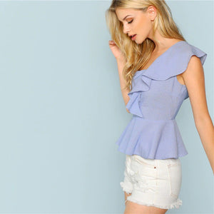 Blue Exaggerate Ruffle Trim Striped Going Out Blouse