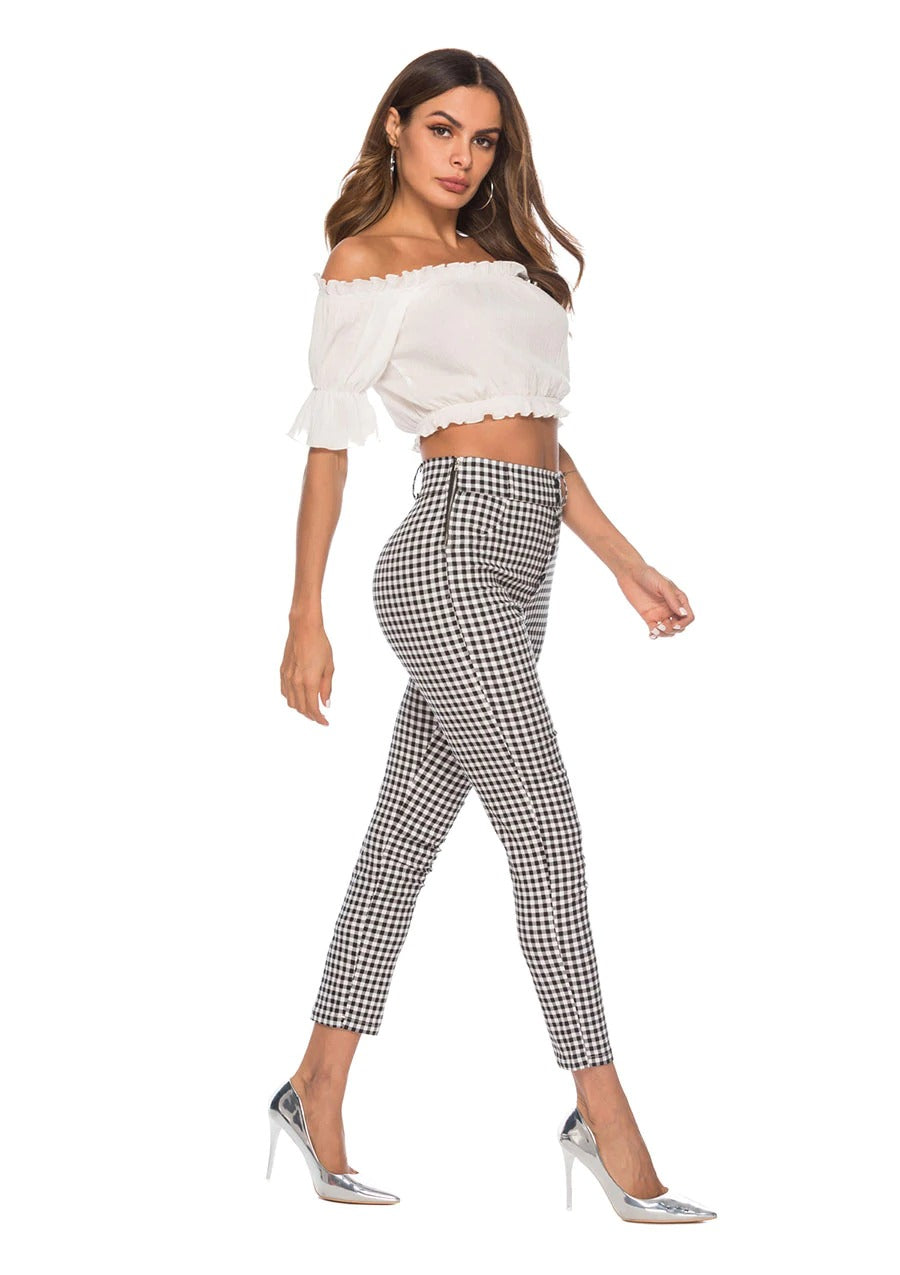 Vintage Button High Waist Plaid Office Leggings