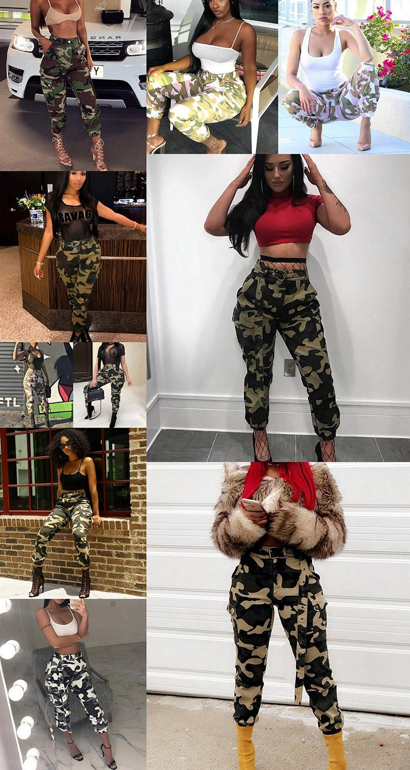 Stylish Modern Casual High Waist Military Camouflage Women Harem Pants