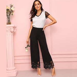 Black Hollowed Out Wide Leg Pants Trousers - Elastic Waist