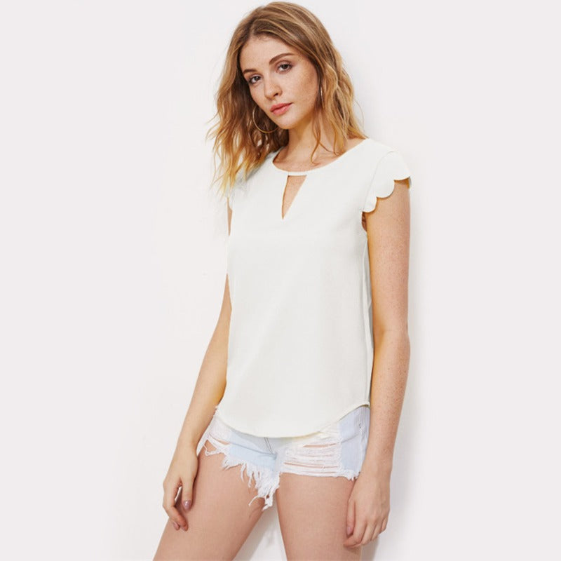 Casual V Notch Front Trim Curved Hem Top Elegant Summer Camise