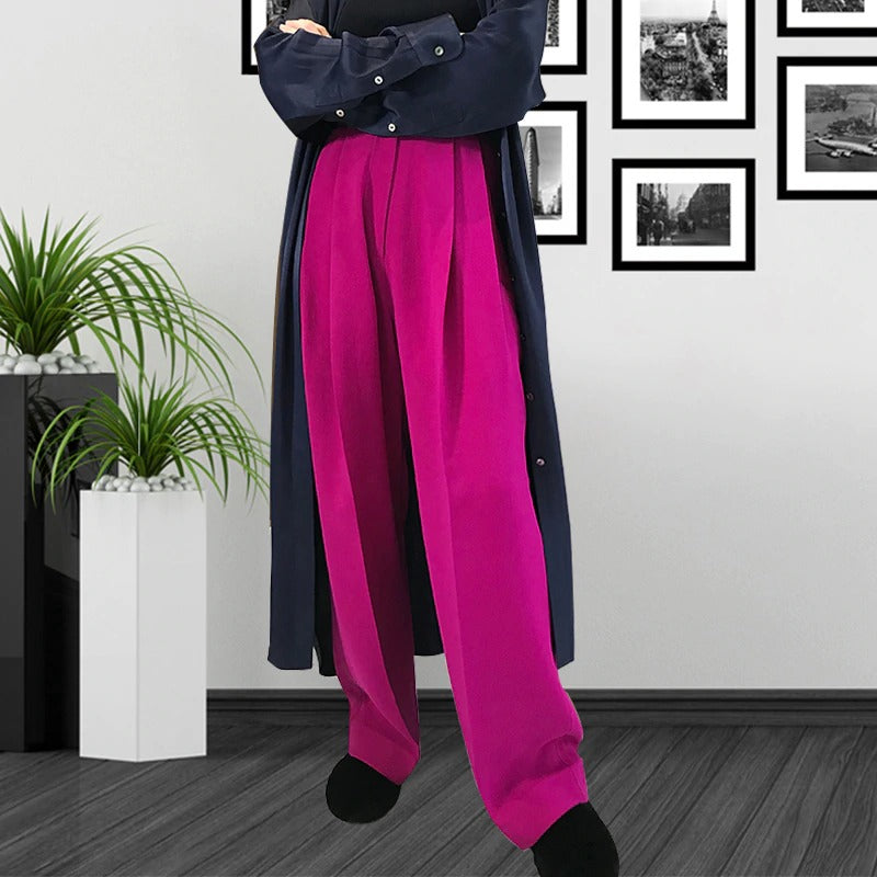 New High Fashion Long Pants Female High Waist Solid Straight Trousers