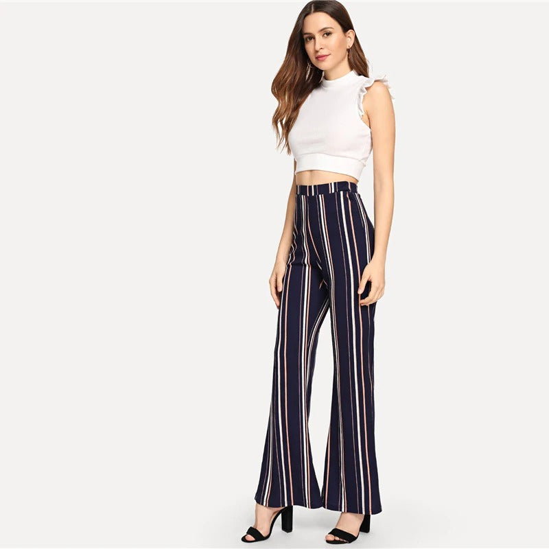 Navy Office Striped Elastic Waist Flare Leg Trousers