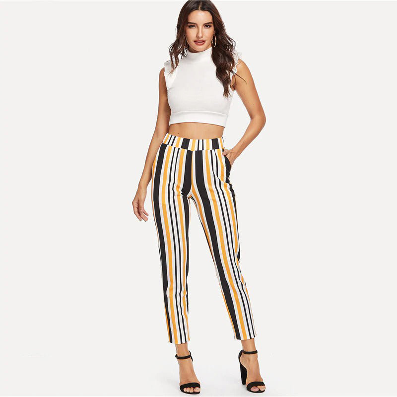 Striped Multi-color High Waist Straight Leg Casual Trousers