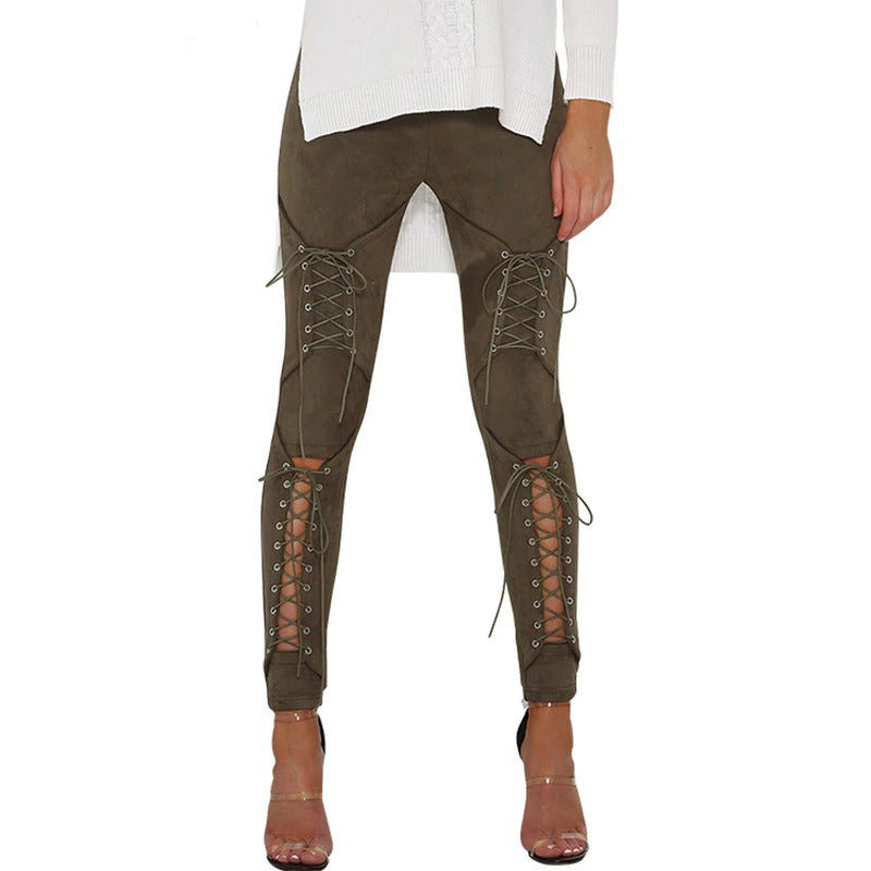 Suede Lace Up Bandage Leggings - Slim