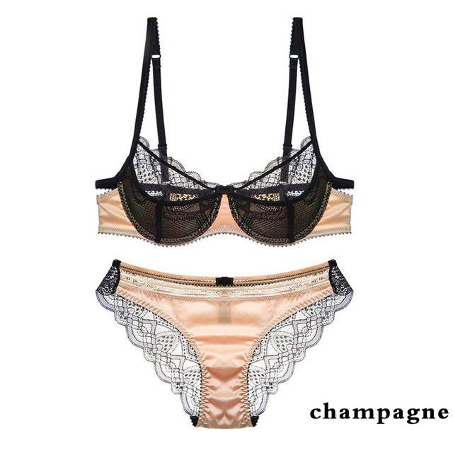 Fashion Lace Lingerie Transparent Bra & Panty Embroidery Floral Sexy Set