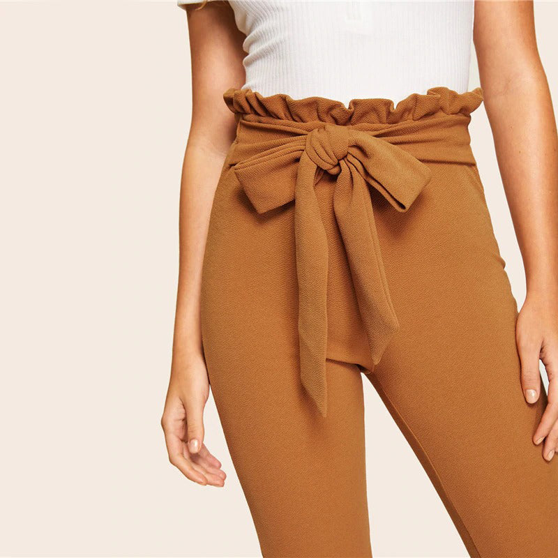Paper-bag Skinny High Waist Belted Crop Trousers Pants
