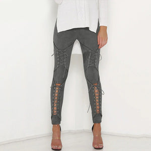 Suede Lace Up Women Bandage Leggings - Slim