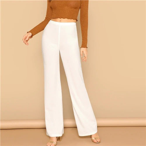 High Waist Straight Pants Office Trousers