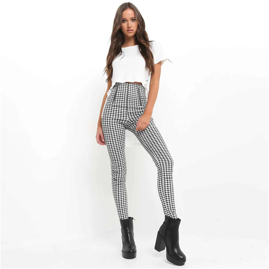 Modern Stylish Plaid w/ Side Stripe Comfortable Elastic Leggings