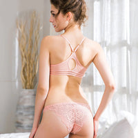 European Sexy Luscious Ultra-thin Front Closure Bra & Panties Embroidery Lingerie Set
