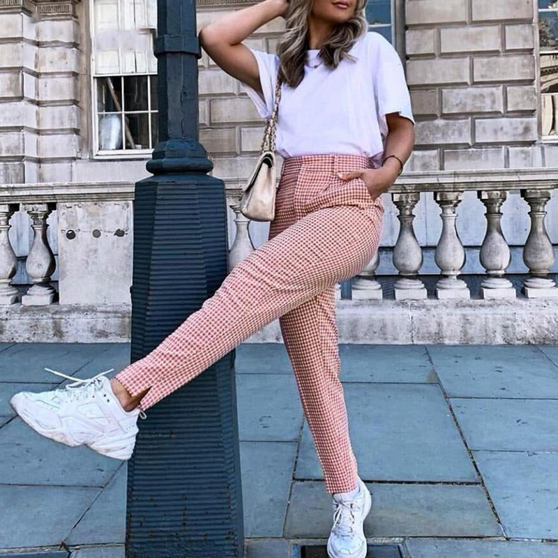 Capri Straight Casual Pink Plaid Casual Pants Vintage Work Pants