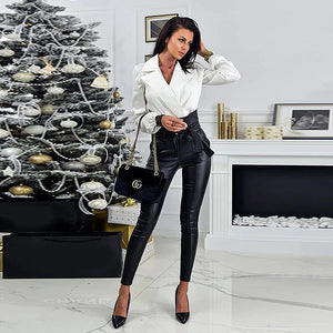 High Fashion Sexy Leather Modern High Waist Pencil Pants/ Leggings