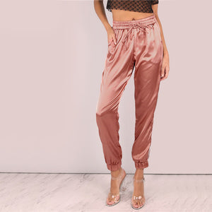 Mid Waist Pants Satin High Fashion Trainer Joggers Casual Sweatpants