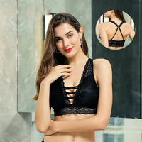 Sexy Lace Backless Bralette Wireless Crop Top 3/4 Cup Floral
