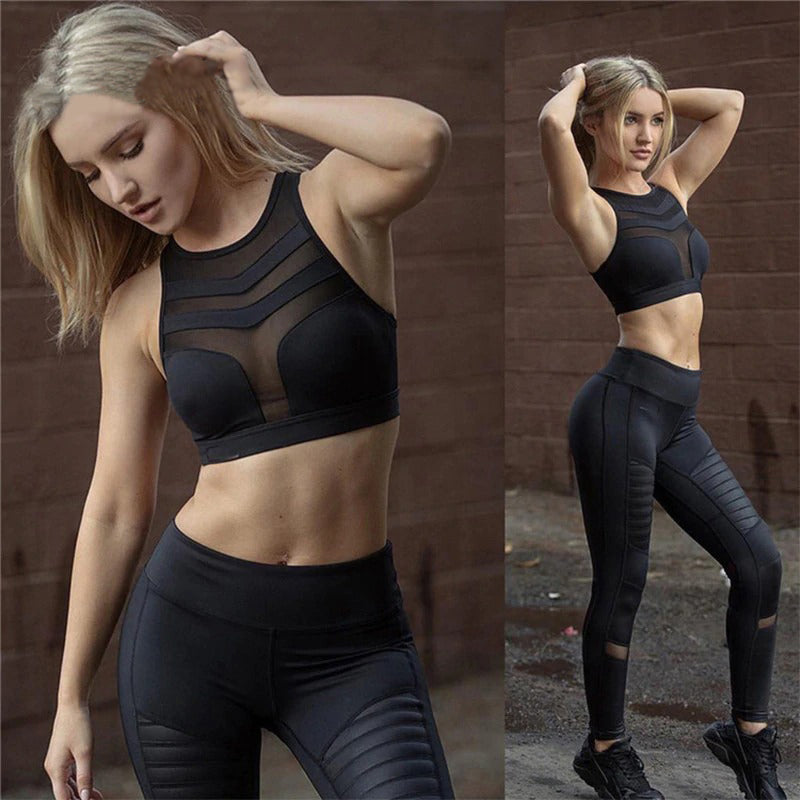 Active Fitness Crop Top - Polyester Sexy Mesh Patchwork Cool Fast Drying