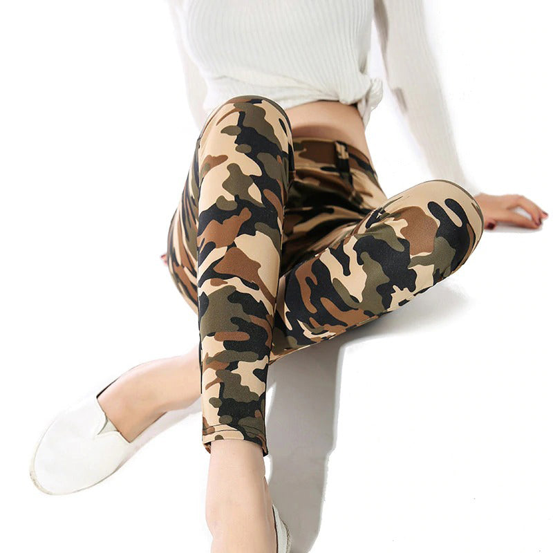 Camouflage Print Pencil Pants Sexy Low Waist Skinny Casual Leggings Outwear