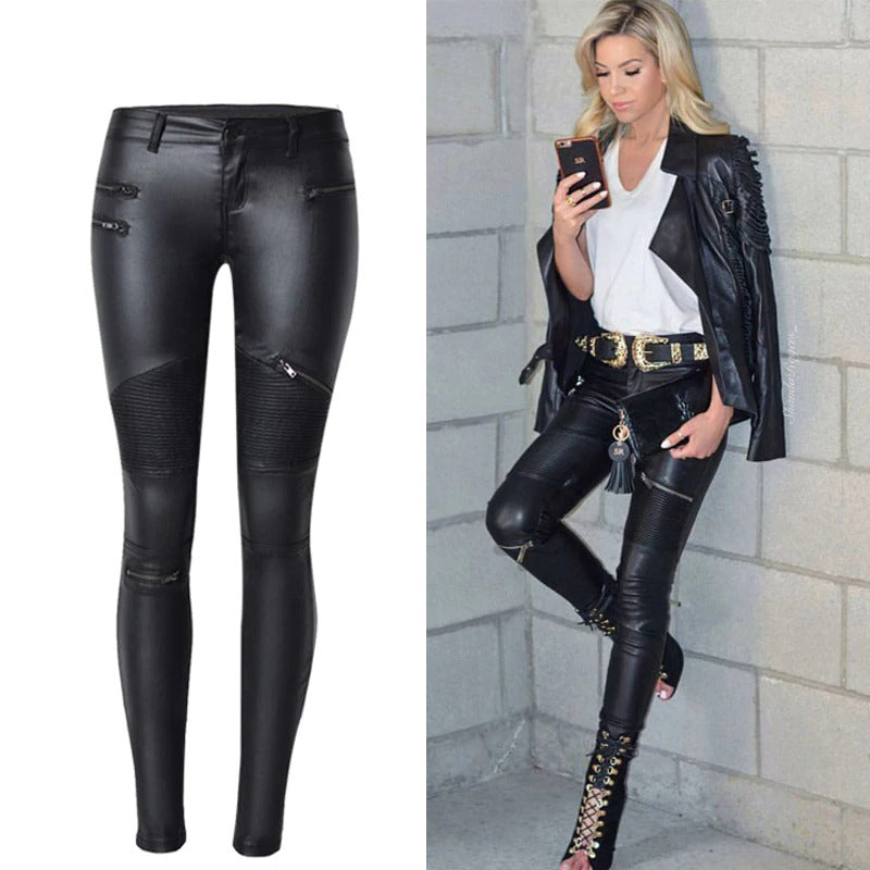 Stretch PU Leather Pants For High Waist Pencil Pants