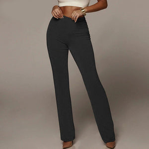 High Waist Wide Leg Pants Solid High Flare Pants Night Out Trousers