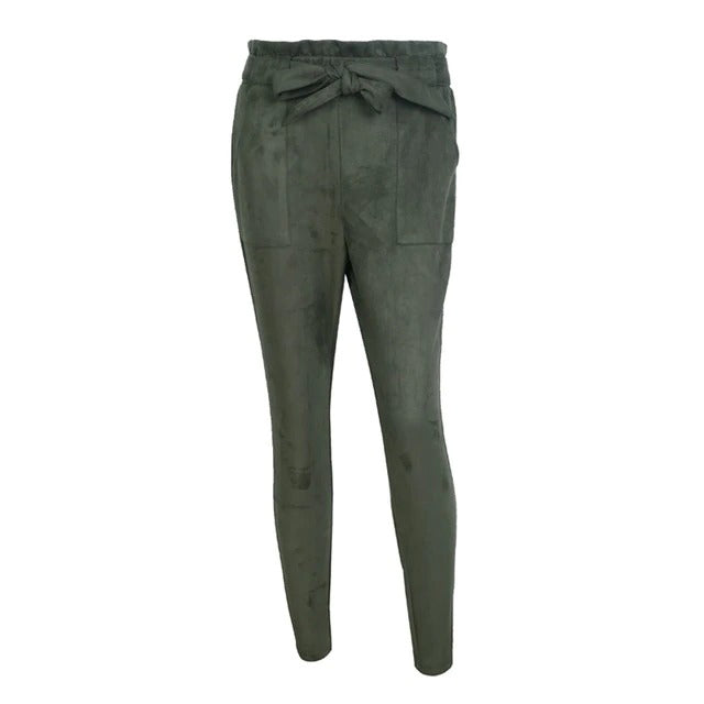 Suede Bottom Sash Casual Comfort Trousers